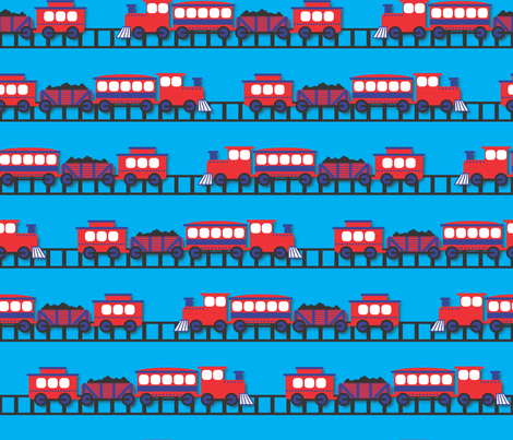 The Birthday Train with Tracks fabric by illustrative_images on Spoonflower - custom fabric