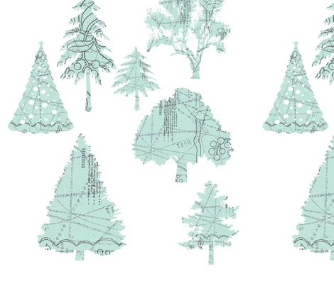 Parisian Patterned Forest on white fabric by karenharveycox on Spoonflower - custom fabric
