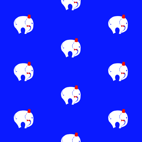 StarrElephant BowTie with Fez - Brighter Blue & Red fabric by starrloy on Spoonflower - custom fabric