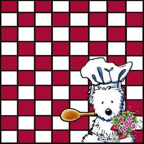 Red and White Westie Chef Large