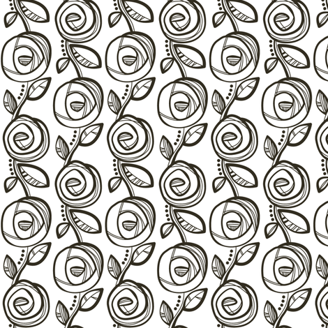 Deco Rose Black n White fabric by charlotteandstewart on Spoonflower - custom fabric