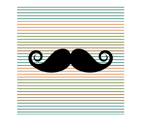mustache_color_lines fabric by littlepegola on Spoonflower - custom fabric