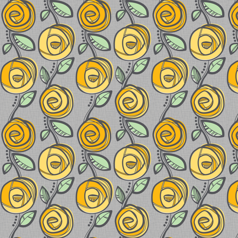 Deco Rose Yellow fabric by charlotteandstewart on Spoonflower - custom fabric