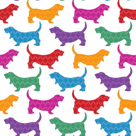 Rainbow Bassets fabric by robyriker on Spoonflower - custom fabric