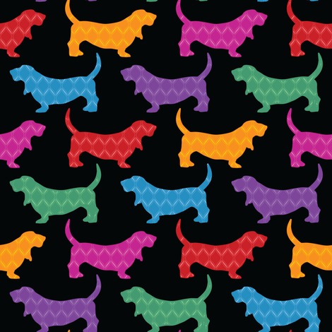 Rainbow Bassets (Black) fabric by robyriker on Spoonflower - custom fabric