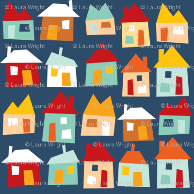 Houses - blue, red