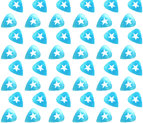 Star Guitar Pick - Blue fabric by owlandchickadee on Spoonflower - custom fabric