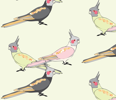 Cockatiels - Light fabric by owlandchickadee on Spoonflower - custom fabric