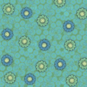 floral paper - blue_green