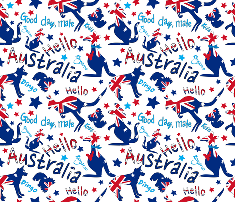Hello-Australia-Good-day-mate fabric by cutiecat on Spoonflower - custom fabric