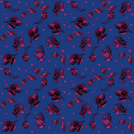 Berry Ditzy on Navy  Gingezel 2013 fabric by gingezel on Spoonflower - custom fabric