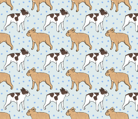 French Bulldog toons and stars - blue