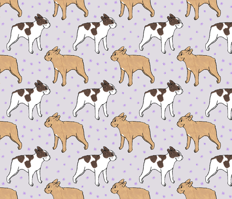 French Bulldog toons and stars - purple fabric by rusticcorgi on Spoonflower - custom fabric
