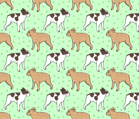 French Bulldog toons and stars - green fabric by rusticcorgi on Spoonflower - custom fabric