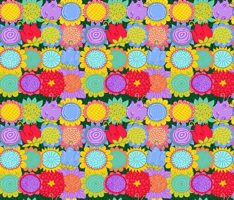 flowers fabric by beebumble on Spoonflower - custom fabric