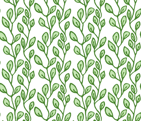 Continuous leaf pattern - green on white fabric by martaharvey on Spoonflower - custom fabric