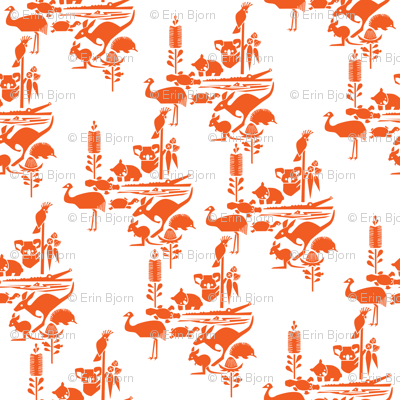 Animal Corroboree -small orange on white