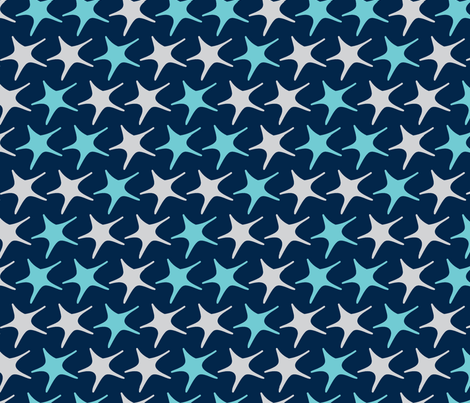 Matisse stars dark blue background fabric by pinkbrain on Spoonflower - custom fabric