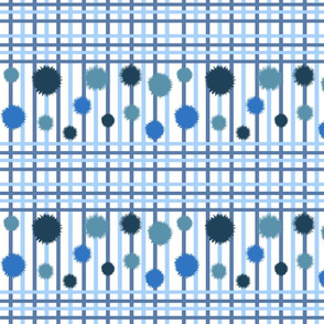 Blue stripes & bubbles pattern