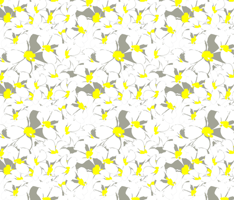 White yellow flower frangipani fabric by cutiecat on Spoonflower - custom fabric