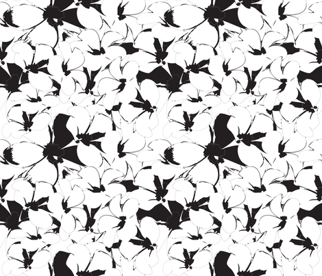 White-Black- frangipani Flower fabric by cutiecat on Spoonflower - custom fabric
