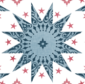 Indigo Chintz Stars