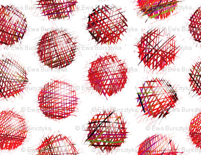 sketchy dots red on white
