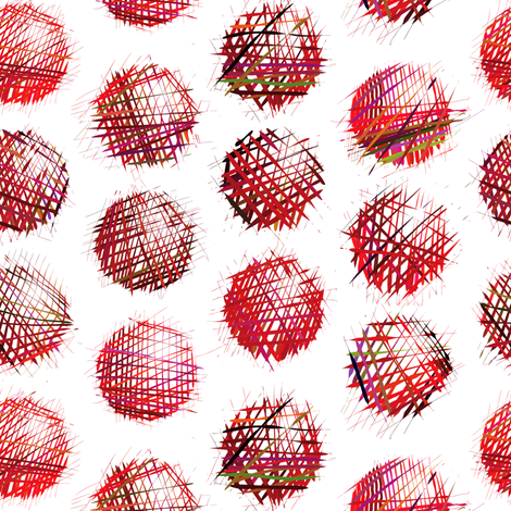 sketchy dots red on white fabric by ravynka on Spoonflower - custom fabric