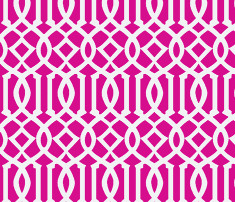 Imperial Trellis-Fuchsia/White-Large fabric by mrsmberry on Spoonflower - custom fabric