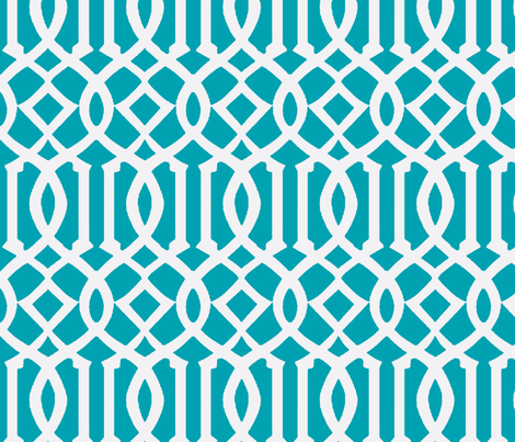 Imperial Trellis-Turquoise/White-Large fabric by melberry on Spoonflower - custom fabric