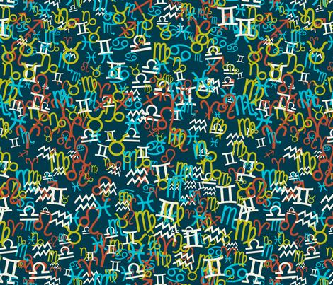 Zodiac ditsy dark fabric by ravynka on Spoonflower - custom fabric