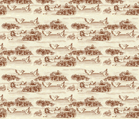 Toile de Jouy (swan) fabric by kirpa on Spoonflower - custom fabric