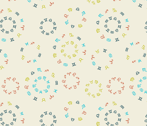 zodiac circles light fabric by ravynka on Spoonflower - custom fabric