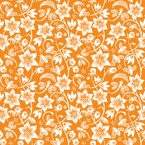 Dragonfly Bee Floral - Orange fabric by dianne_annelli on Spoonflower - custom fabric