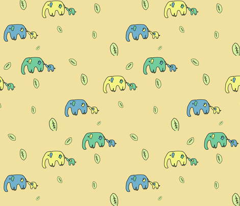 Mother & Baby Elephants fabric by squeaky_designs on Spoonflower - custom fabric