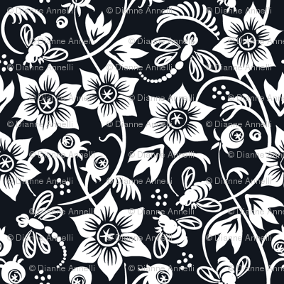Dragonfly Bee Floral - Black