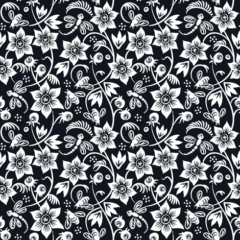 Dragonfly Bee Floral - Black fabric by dianne_annelli on Spoonflower - custom fabric