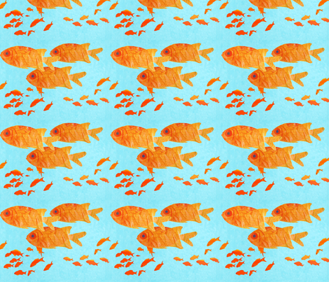 orange_fish_on_blue_ fabric by patti_ on Spoonflower - custom fabric