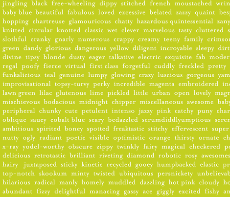 Improv Adjectives - LIME fabric by happysewlucky on Spoonflower - custom fabric