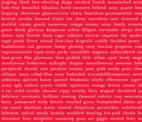 Improv Adjectives - RED fabric by happysewlucky on Spoonflower - custom fabric