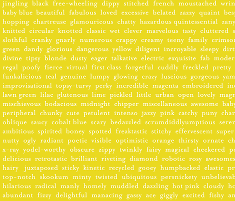 Improv Adjectives - CHARTREUSE fabric by happysewlucky on Spoonflower - custom fabric