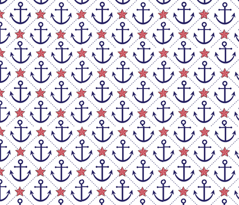 Anchors and Stars fabric by zenith123 on Spoonflower - custom fabric