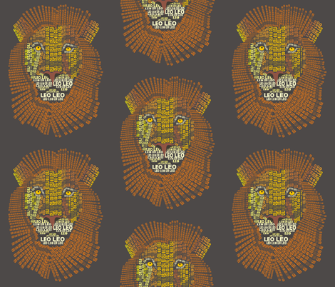 Leo the Lion Dark fabric by smuk on Spoonflower - custom fabric
