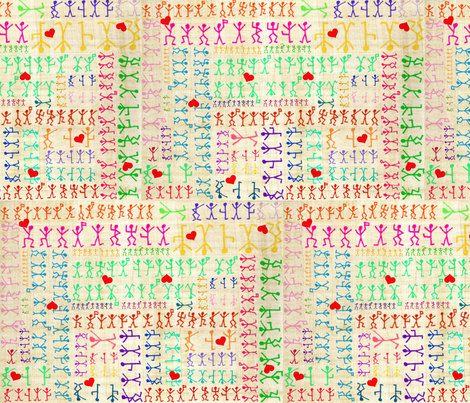 Dancing Men Rainbow fabric by marchhare on Spoonflower - custom fabric