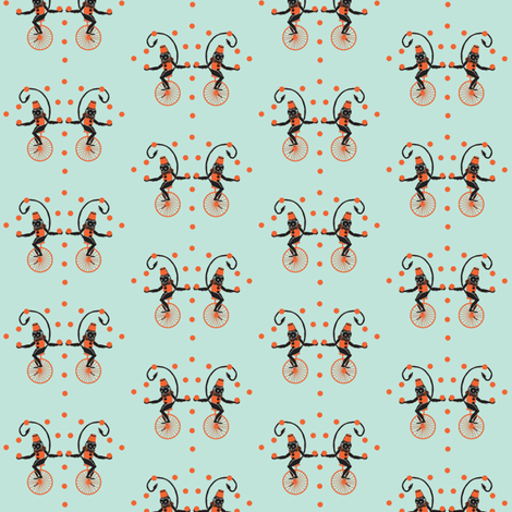 Circus Monkey Turquoise and Coral fabric by hemligdolls on Spoonflower - custom fabric