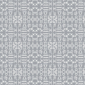 All together zodiac signs coordinating fabric in monochrome - grey