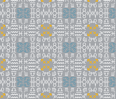 All together zodiac signs - grey fabric by domoshar on Spoonflower - custom fabric