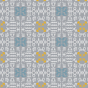 All together zodiac signs coordinating fabric on grey