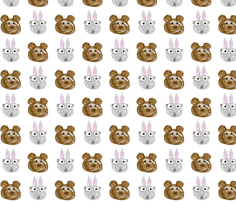Rabbit and Bear fabric by larsdotter on Spoonflower - custom fabric