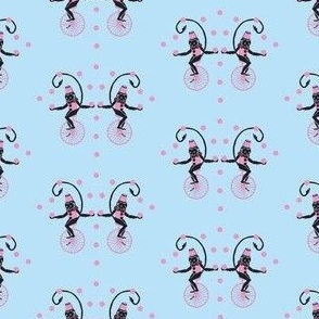 Circus Monkey pink on blue